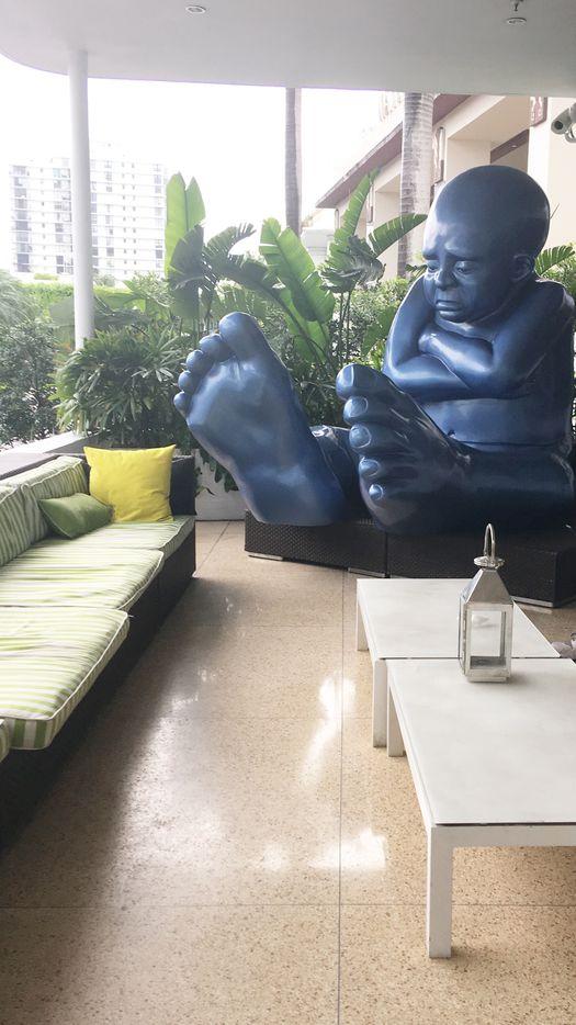 An oversized sculpture makes an oversized statement.