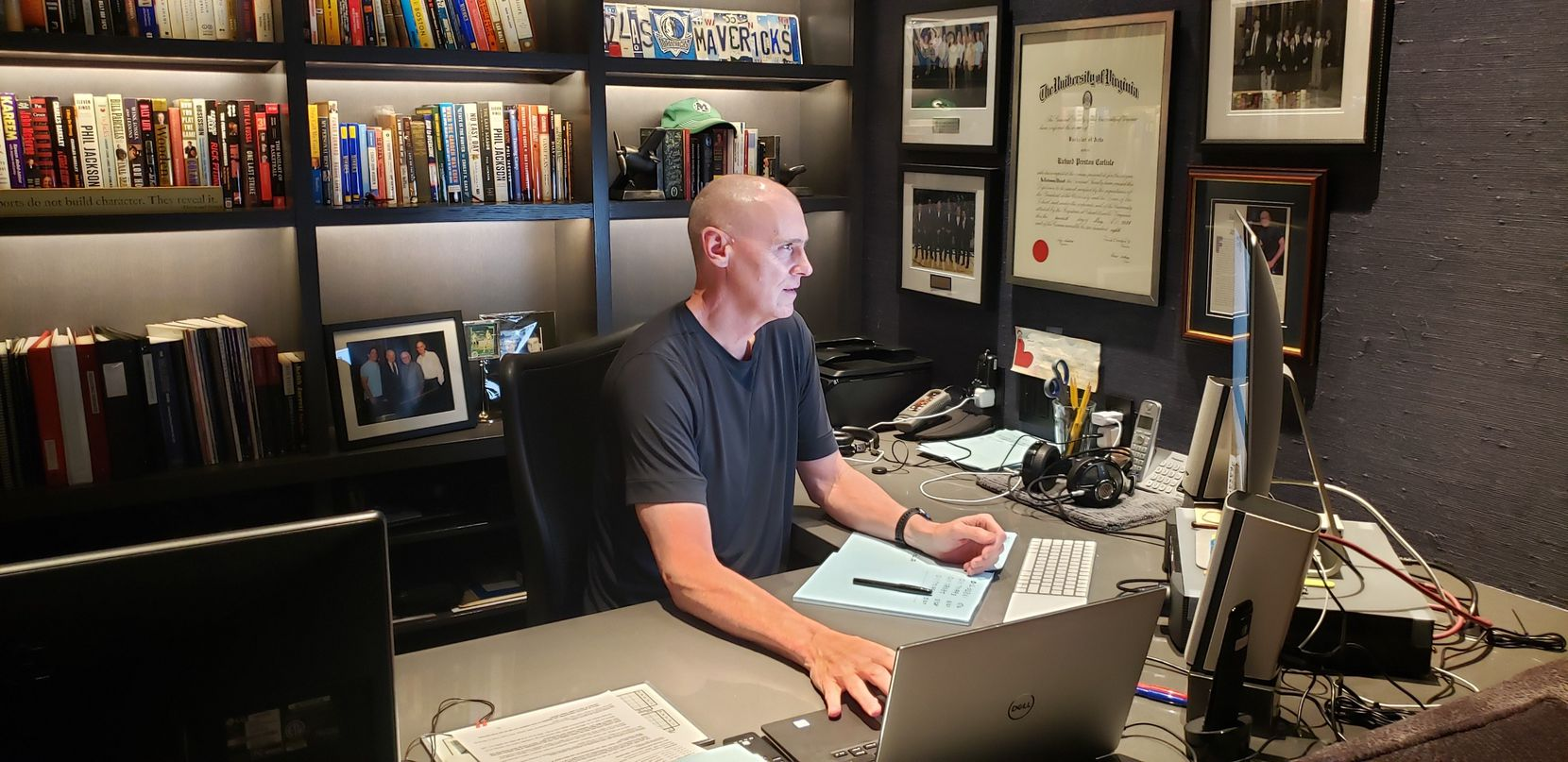 Rick Carlisle on a recent Zoom call in his home office with Mark Cuban, Donnie Nelson, players and Mavericks staff. (Courtesy / Rick Carlisle)