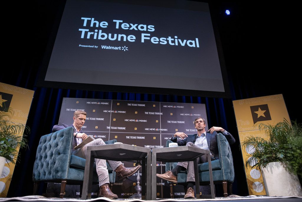 Democratic presidential candidate, former Rep. Beto O'Rourke (right), speaks with Garrett Haake of MSNBC during a panel at the Texas Tribune Festival in Austin.