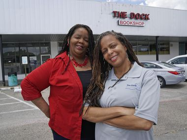 The Dock Bookshop owners Donya (left) and Donna Craddock at the store in Fort Worth, Texas on Thursday, July 23, 2020.