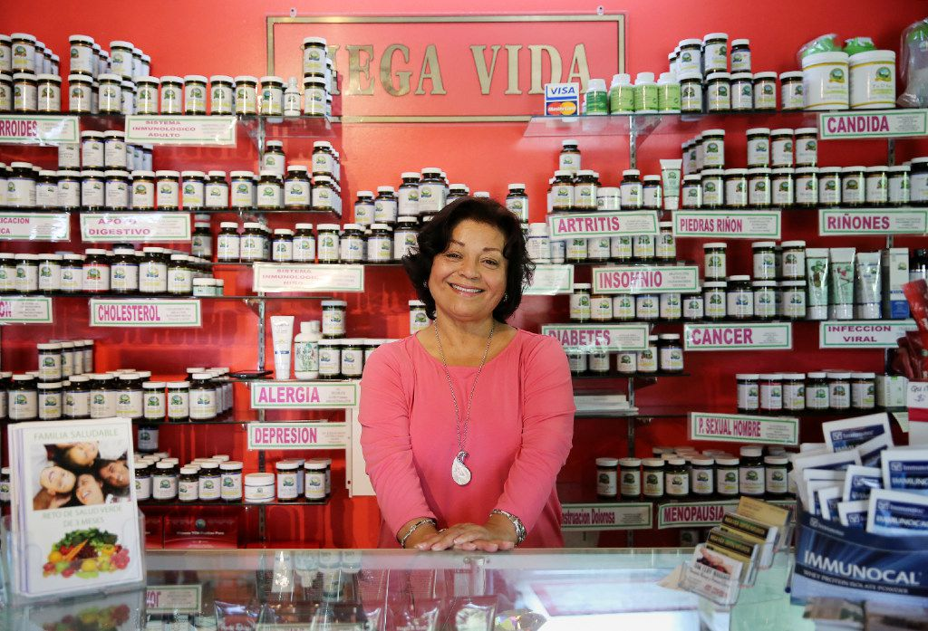 Evelia Zepeda, owner of Mega Vida Centro Naturista, says she's seen a rise in customers seeking consultations over the phone and asking that products be mailed to them.