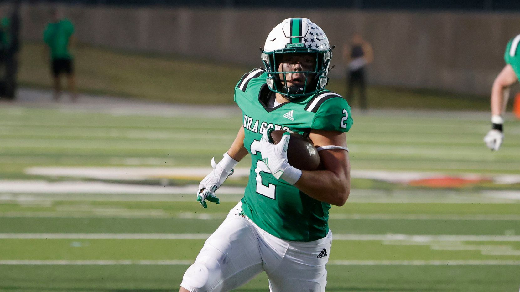 Southlake Carroll running back Owen Allen (2) runs for a touchdown against Arlington Martin during a high school football game in Southlake, Texas on Friday, Sept. 17, 2021. (Michael Ainsworth/Special Contributor)