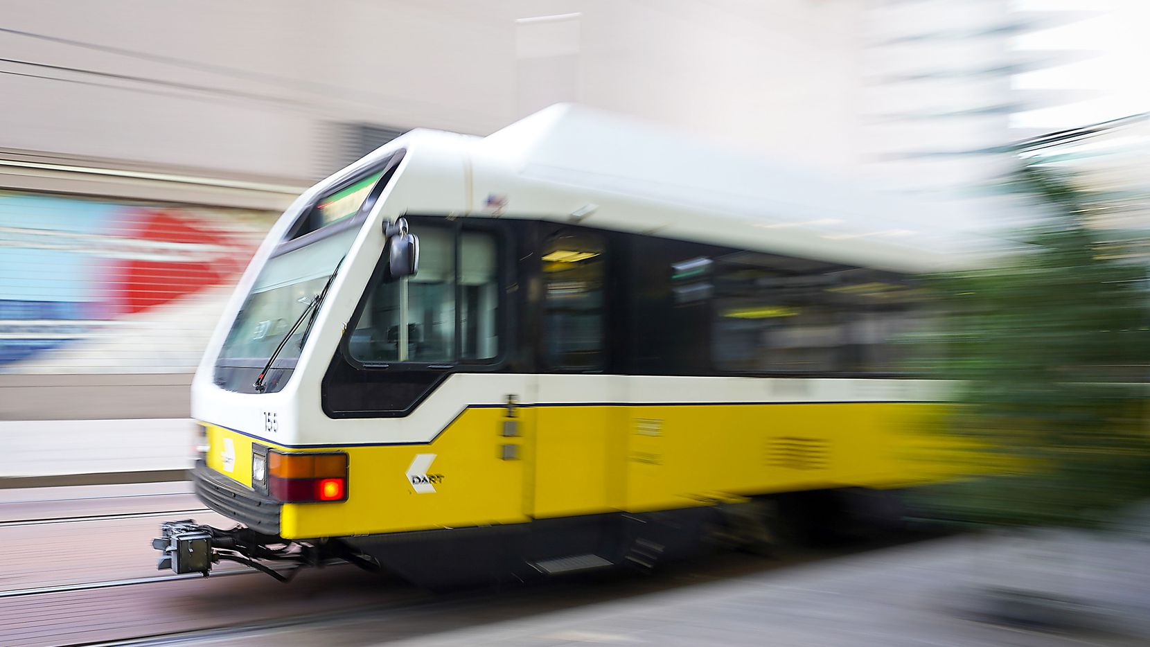 A DART rail train pulls into St. Paul Station downtown on Thursday, Aug. 13, 2020, in Dallas.
