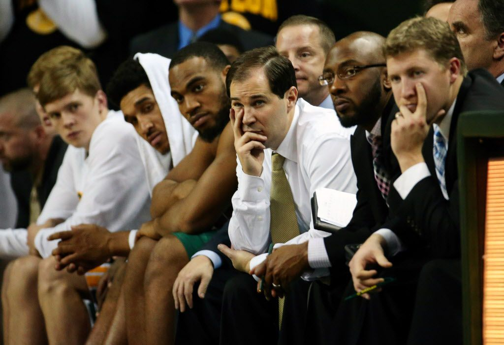 Baylor Bears head coach Scott Drew and the bench look on during the second half against the Texas Longhorns at The Ferrell Center. (Kevin Jairaj-USA TODAY Sports)