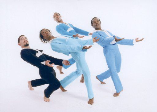Dallas Black Dance Theatre : G. Armando Silva (from left), Darrell Cleveland, Garfield Lemonius and William Gill dance in SNAKES, SNAILS AND PUPPY DOG TAILS. 05302003xGUIDE