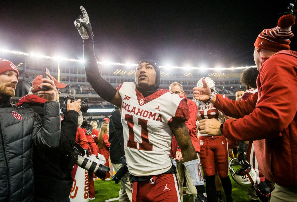 Oklahoma Sooners cornerback Parnell Motley (11) celebrates after a 34-31 win against the Baylor Bears on Saturday, November 16, 2019 at McLane Stadium in Waco, Texas. (Ashley Landis/The Dallas Morning News)