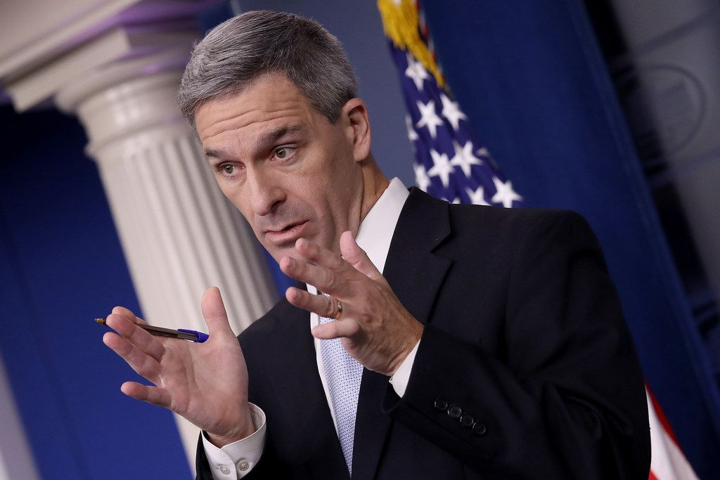 Ken Cuccinelli, acting director of U.S. Citizenship and Immigration Services, spoke about immigration policy at the White House during a briefing Aug. 12 in Washington, DC. He said that immigrants legally in the U.S. would no longer be eligible for green cards if they utilize any social programs available in the nation.