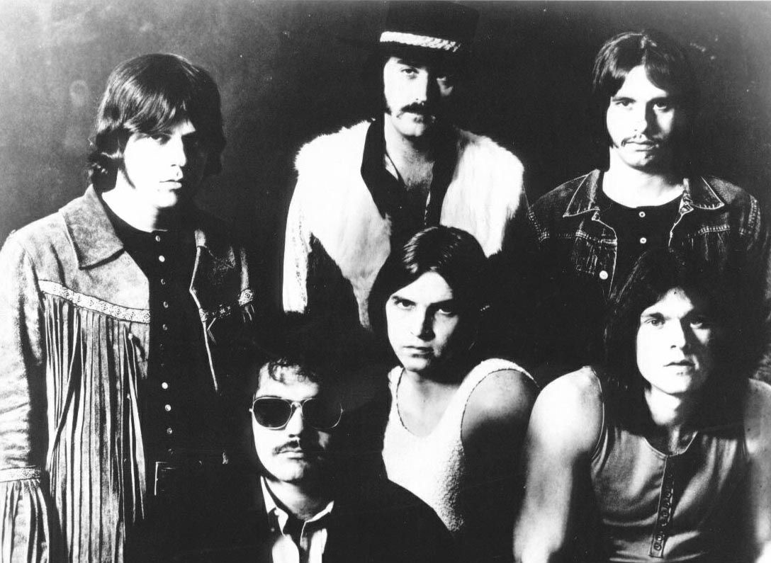 Members of the 70s classic hard rock band Bloodrock, standing from left: Ed Grundy, Lee Pickens and Stevie Hill. Seated: Nick Taylor, Jim Rutledge and Rick Cobb.