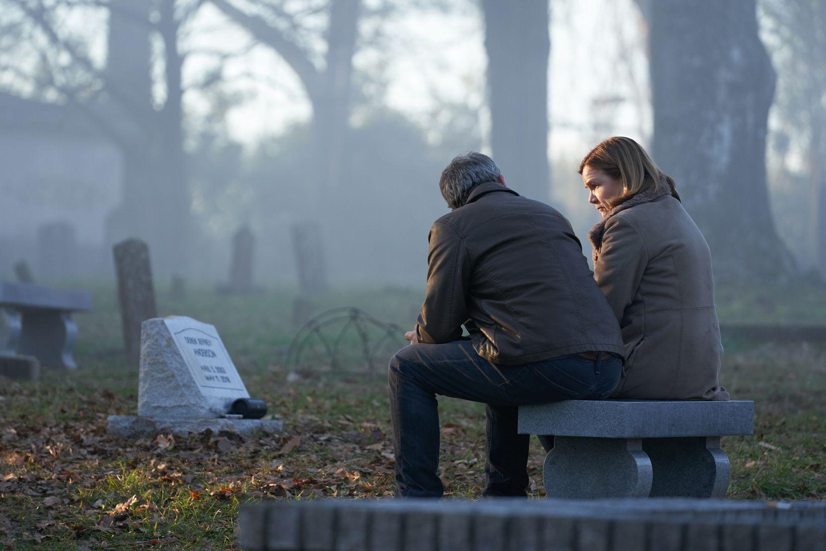 """Ben Mendelsohn and Mare Winningham in HBO's """"The Outsider."""""""