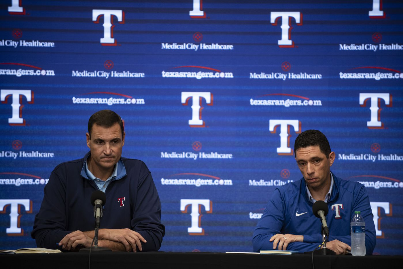 From left, Texas Rangers Executive Vice President and General Manager Chris Young and President of Baseball Operations Jon Daniels listen to a question from a reporter during the Texas RangersÕ end of the year press conference at Globe Life Field on Wednesday, October 6, 2021 in Arlington, Texas. (Emil Lippe/Special Contributor)