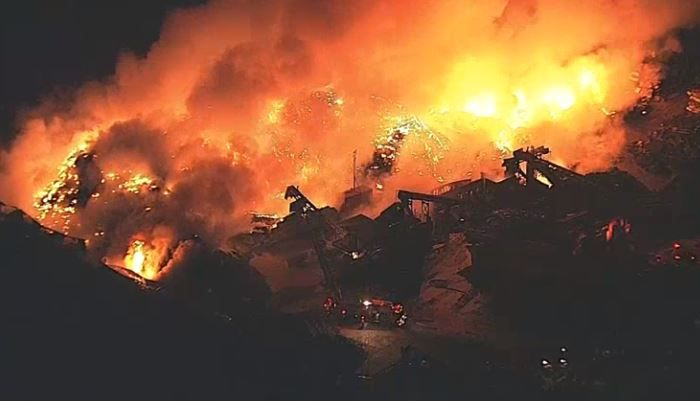 A fire at a large metal recycling company burned Wednesday morning in Waxahachie.