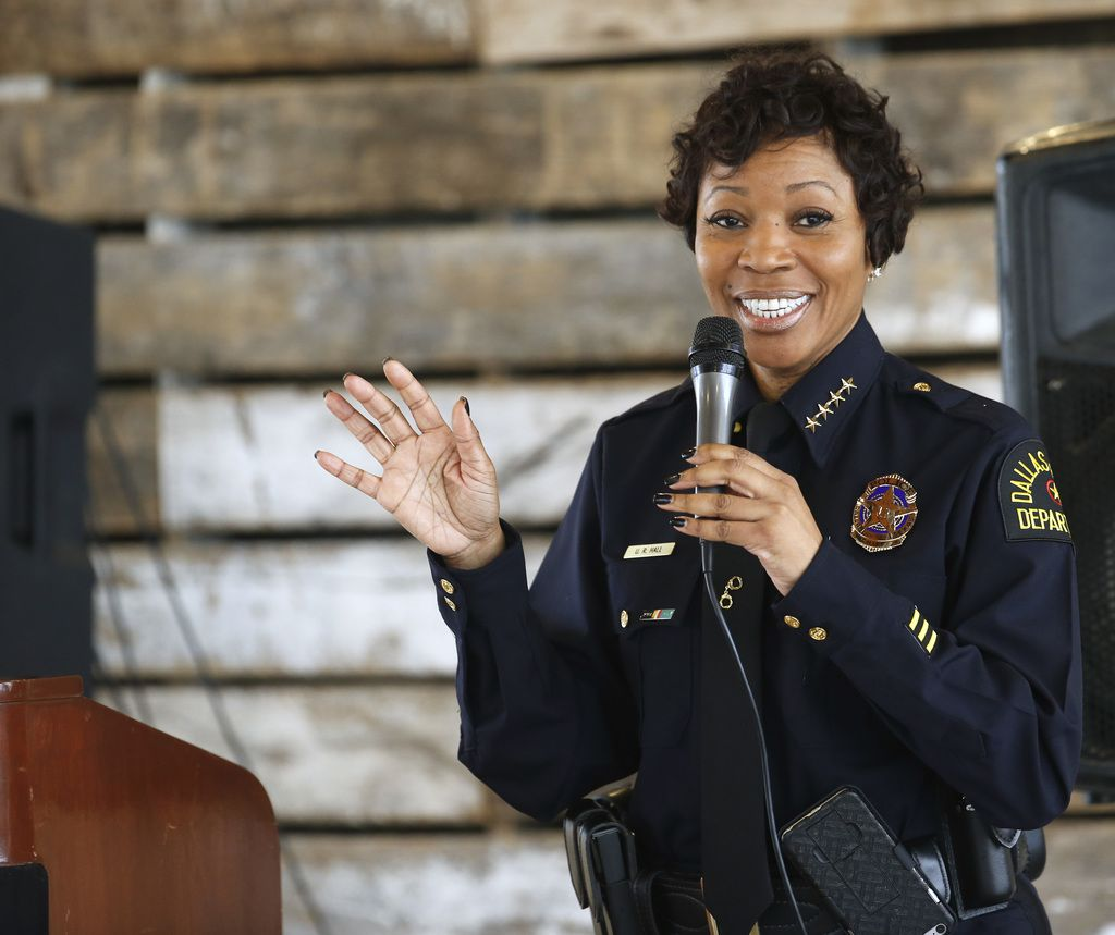 Dallas Police Chief U. Renee Hall makes a speech to the Southeast Dallas Chamber of Commerce Feb. 20.