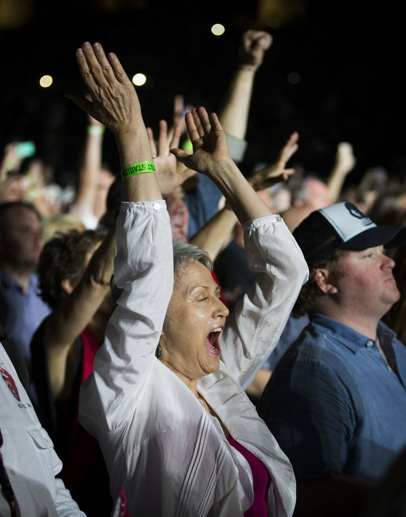 Fans cheer as The Rolling Stones take the stage at AT&T Stadium.