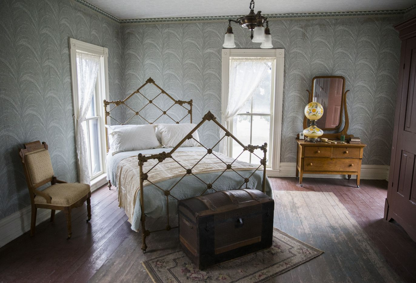 A second-floor bedroom inside the Lawrence house. The parents' bedroom was on the first floor, the girls slept on the second, and the boys on the third.