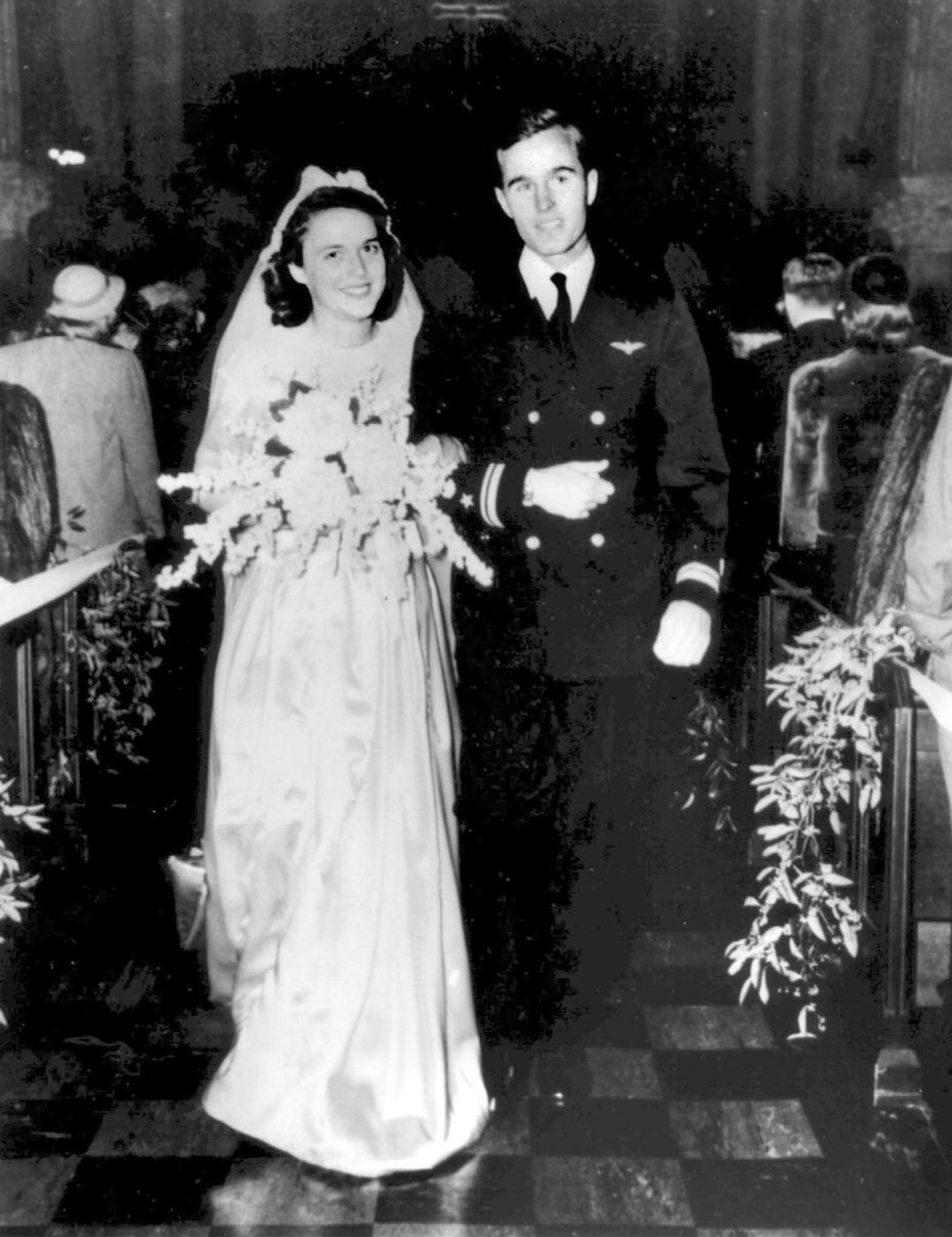 The wedding of George H.W. Bush and Barbara Pierce on January 6, 1945, in Rye, New York.