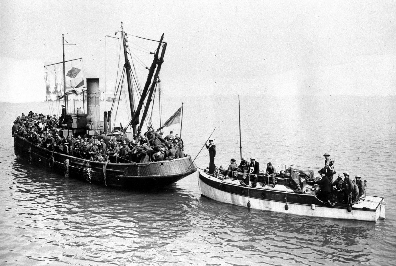 Two of the many small boats which helped to bring the Allied troops in the emergency evacuation across the English Channel from Dunkirk, France, are shown on June 4, 1940 in World War II.  Private crafts of all sizes, trawlers, paddle steamers, yachts and motor boats were used to evacuate more than 300,000 Allied troops who were cutoff from retreat on land by the Nazi invasion to the French Channel ports.