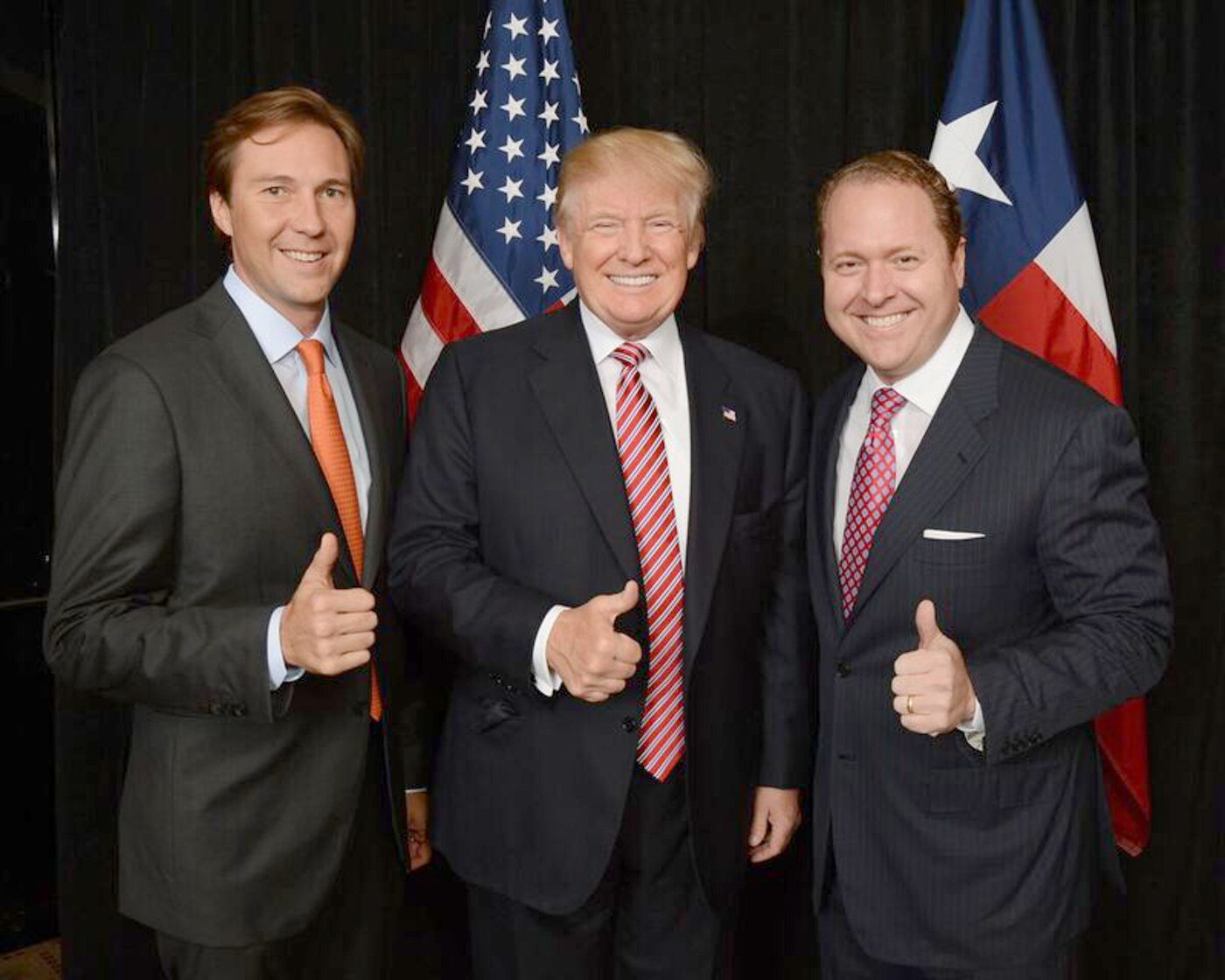Tommy Hicks Jr., (from left) shown with Donald Trump and Gentry Beach.  Hicks and Beach, two Dallas businessmen were instrumental in raising millions for the campaign and are credited with helping shape the successful upset campaign. Hicks is now looking to buy a conservative news channel.