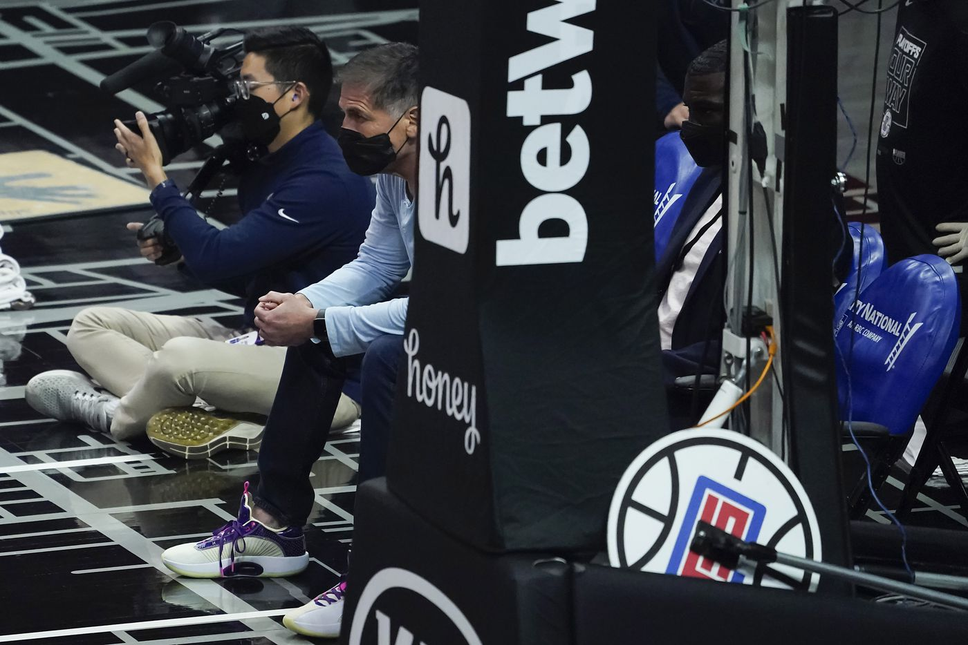 Dallas Mavericks owner Mark Cuban watches during the first half of an NBA playoff basketball game against the LA Clippers at Staples Center on Tuesday, May 25, 2021, in Los Angeles.