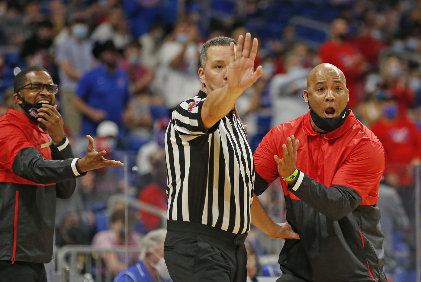Duncanville head coach David Peavy pleads with official on a call. UIL boys Class 6A basketball state championship game between Duncanville and Austin Westlake on Saturday, March 13, 2021 at the Alamodome.