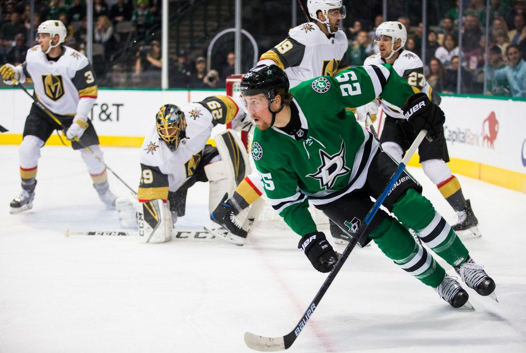 Dallas Stars right wing Brett Ritchie (25) rounds the corner during the first period of an NHL game between the Dallas Stars and the Vegas Golden Knights on Friday, March 15, 2019 at American Airlines Center in Dallas. (Ashley Landis/The Dallas Morning News)