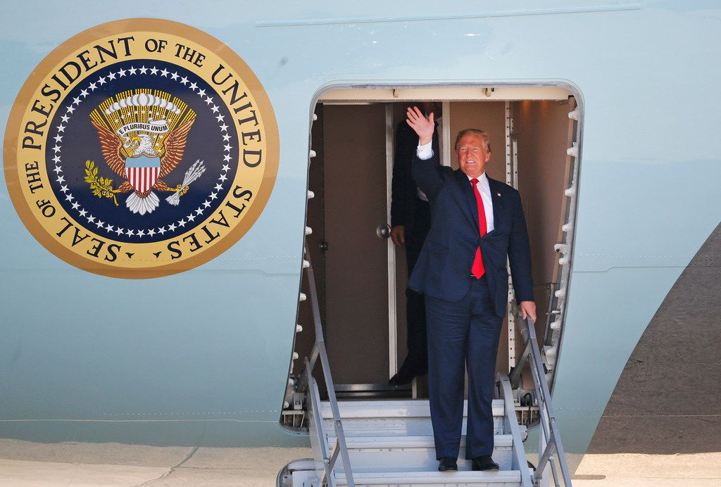 United States President Donald Trump arrives at Love Field in Dallas on Thursday, May 31, 2018. (Louis DeLuca/The Dallas Morning News)