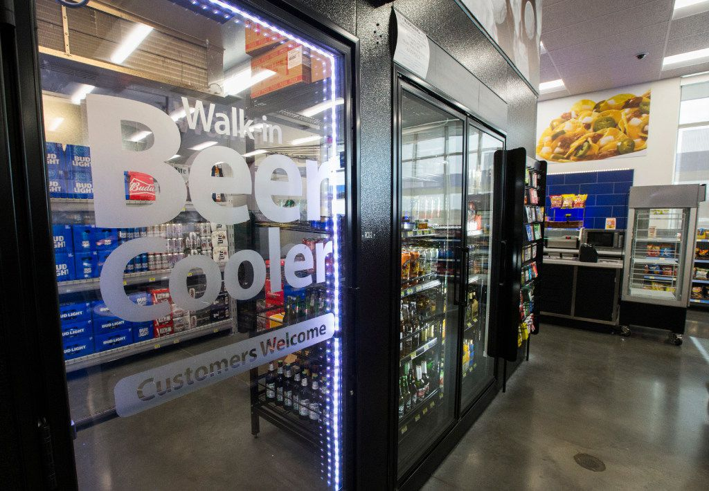 A walk-in beer cooler inside a new Walmart convenience store on Wednesday, February 8, 2017 on FM 1187 in Crowley, Texas. (Ashley Landis/The Dallas Morning News)