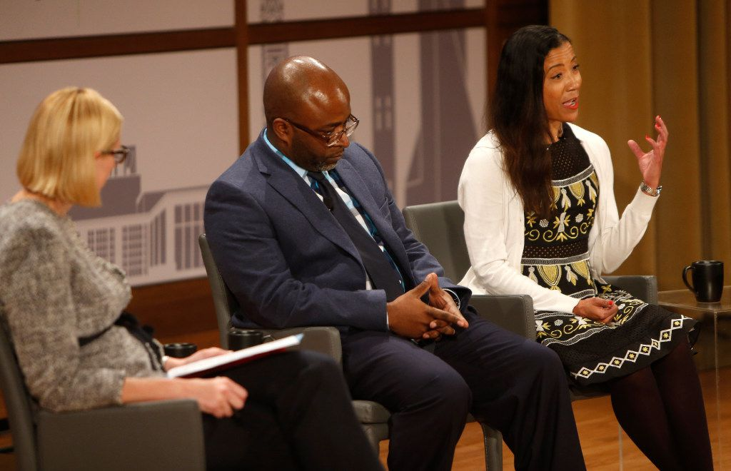 Ebony Cooksey (far right), parent and English teacher, speaks during a panel discussion on education consumers during the Engage event Educated City, part of The Dallas Festival of Ideas, at the George W. Bush Presidential Center.