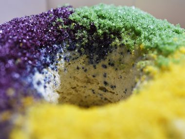 Unrefined Bakery serves gluten free King Cake doughnuts in multiple locations across the Dallas-Fort Worth Metroplex.