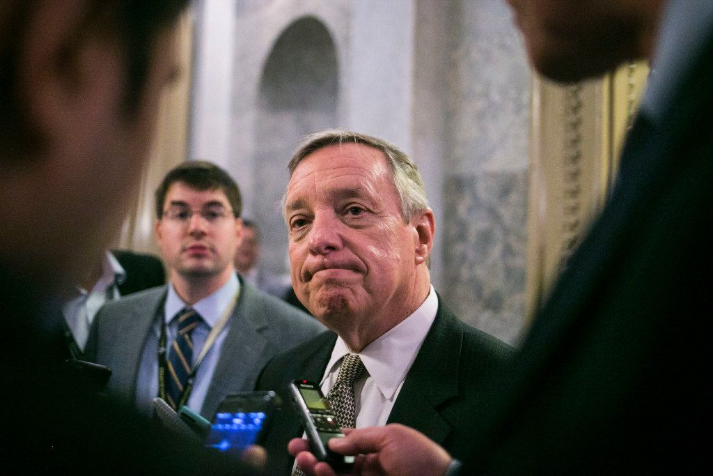 """Sen. Dick Durbin, D-Ill., spoke out after Michael Flynn's resignation as national security adviser. """"The party of Reagan has spoken zero times about the Russian attack or Flynn's actions on the floor of the Senate since early October,"""" Durbin said. (Al Drago/The New York Times)"""