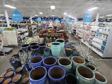 Display of garden pottery in an At Home store.