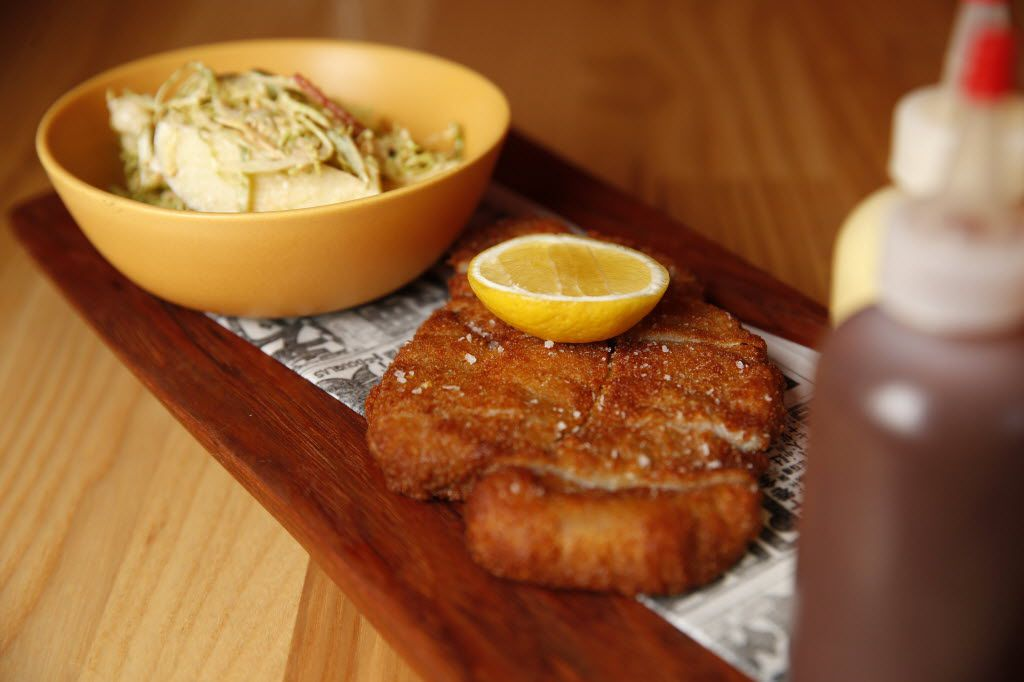 Crispy pork katsu with cabbage, apple and miso mustard