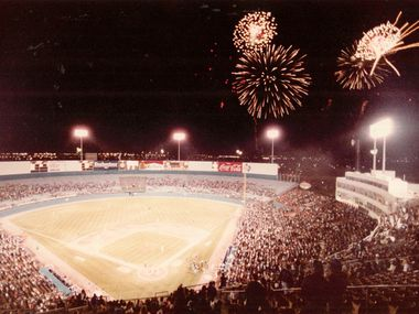 An undated photo of a Rangers opener at Arlington Stadium, originally built as Turnpike Stadium, the team's first home.