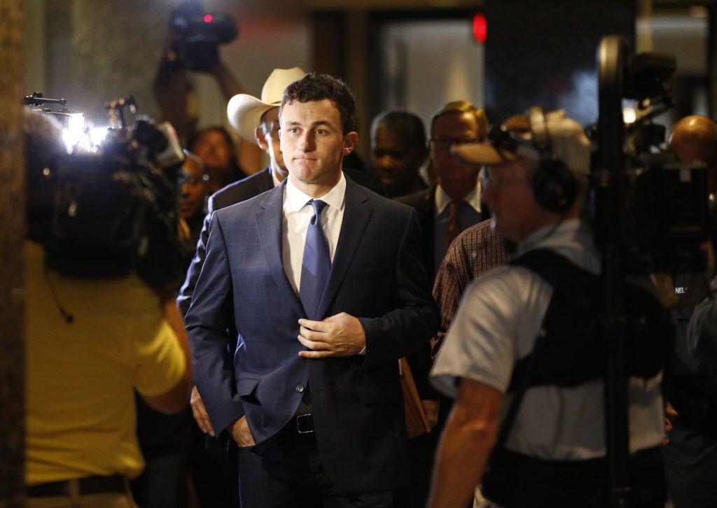 Former Texas A&M and Cleveland Browns quarterback Johnny Manziel makes a court appearance at the Frank Crowley Courts Building in Dallas, on Thursday, May 5, 2016.