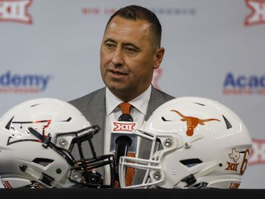 Texas head football coach Steve Sarkisian speaks during the Big 12 Conference Media Days at AT&T Stadium on Thursday, July 15, 2021, in Arlington. (Elias Valverde II/The Dallas Morning News)