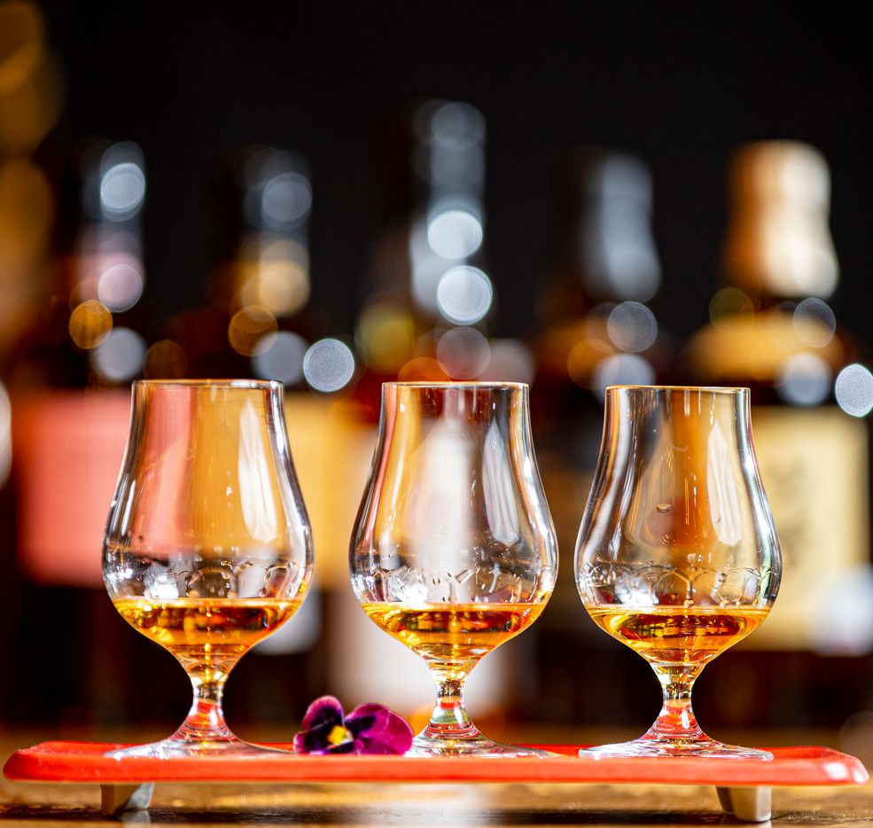 Three flights of Nikka Coffey Grain whisky at Nobu in the Crescent Hotel in Dallas, Sept. 10, 2019.