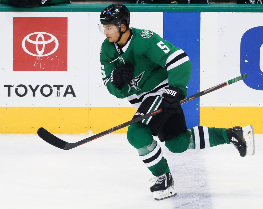 Dallas Stars defenseman Connor Carrick (5) breaks down the ice during the second period of a game between the Dallas Stars and the Winnipeg Jets on Saturday, Oct. 6, 2018 at American Airlines Center in Dallas. (Ryan Michalesko/The Dallas Morning News)