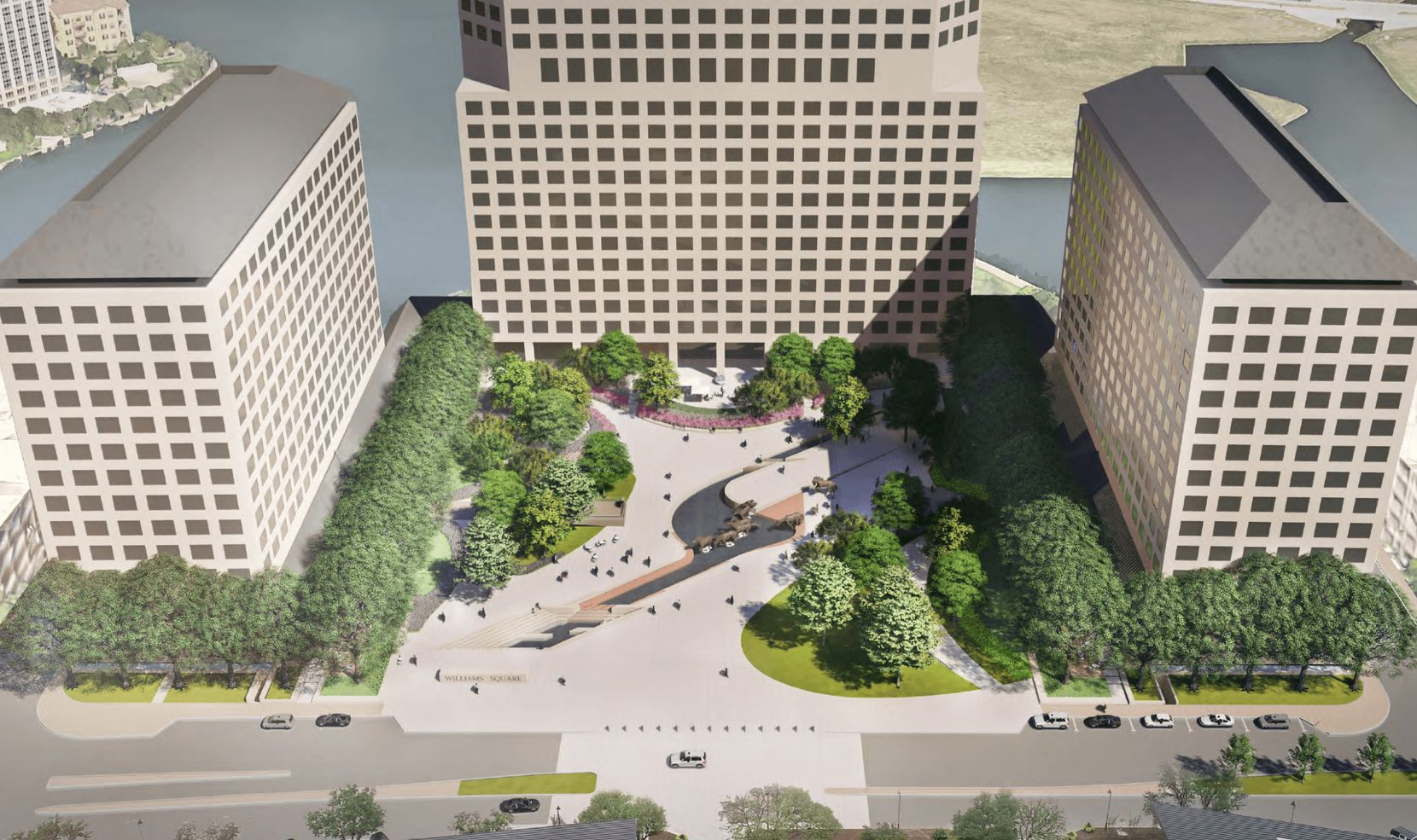 Areas of trees and landscaping will replace large sections of the granite plaza.
