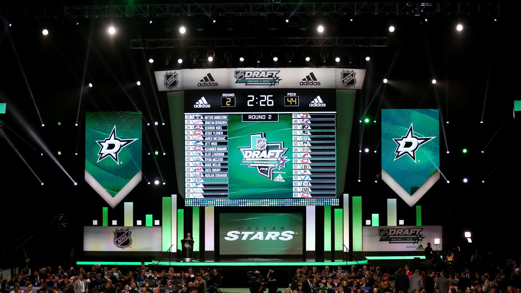 Dallas Stars work before picking Albin Eriksson with the 44th pick from the SHL during day two of the National Hockey League Draft at the American Airlines Center in Dallas Saturday June 23, 2018.