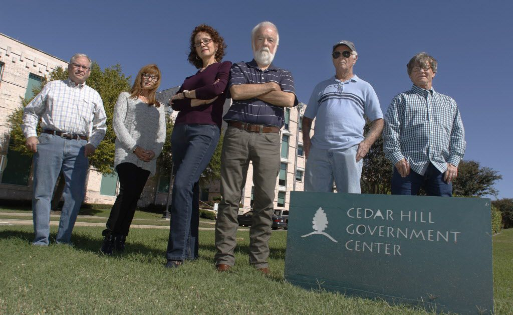 Six citizens closely monitored the Cedar Hill City Council in recent years, growing disturbed by what they called the officials' self-serving actions. From left: Tom Myers, Terri Sengbush, Katie Myers, Wes Pool, M.G. Johnson and Larry Sengbush.