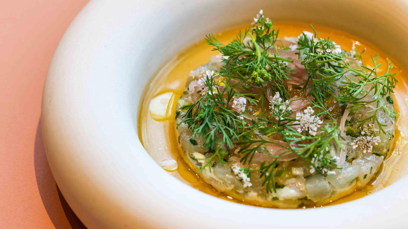 Cured fluke tartare is a delicate dish on executive chef Nilton 'Junior' Borges' menu at new Dallas restaurant Meridian.