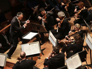 Guest conductor Jun Markl leads the Dallas Symphony Orchestra at the Meyerson Symphony Center in Dallas Nov. 16. (Jason Janik/Special Contributor)