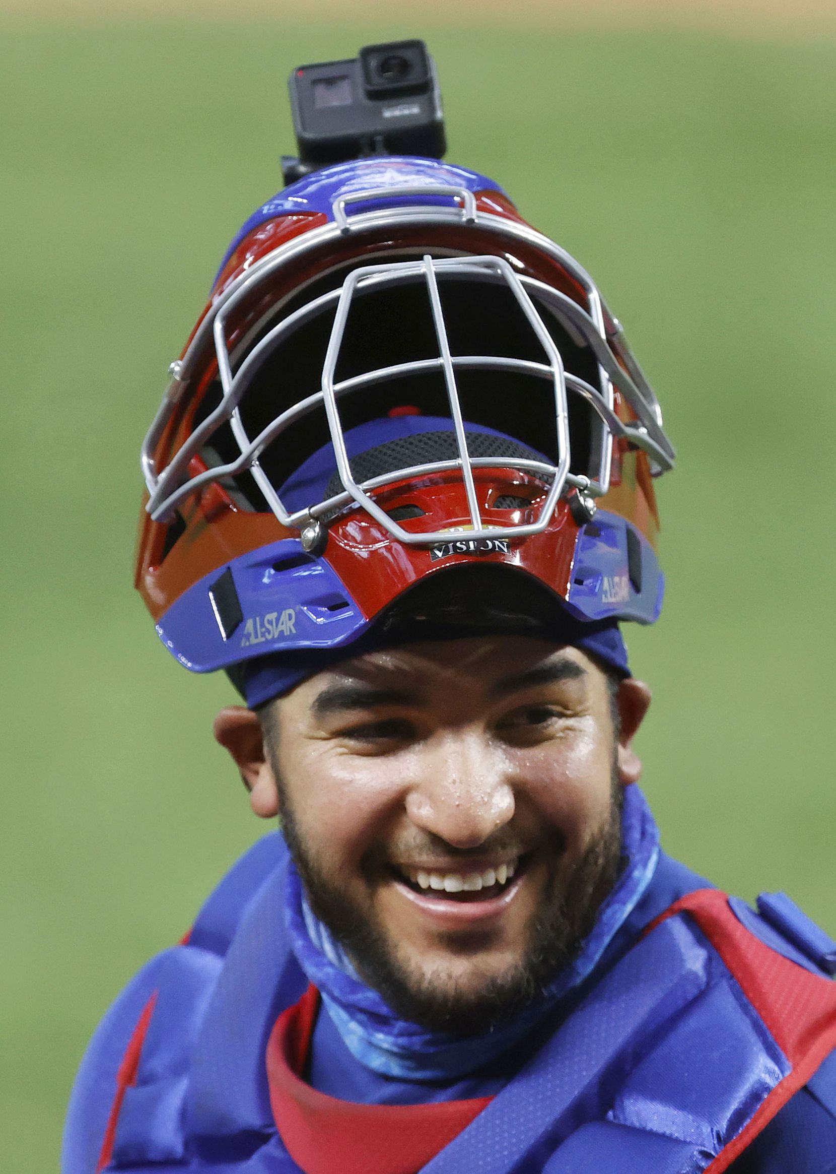 Texas Rangers catcher Jose Trevino wore a GoPro camera on his helmet to record pitching from behind the plate during a simulated Summer Camp game inside Globe Life Field in Arlington, Texas, Thursday, July 9, 2020. (Tom Fox/The Dallas Morning News)