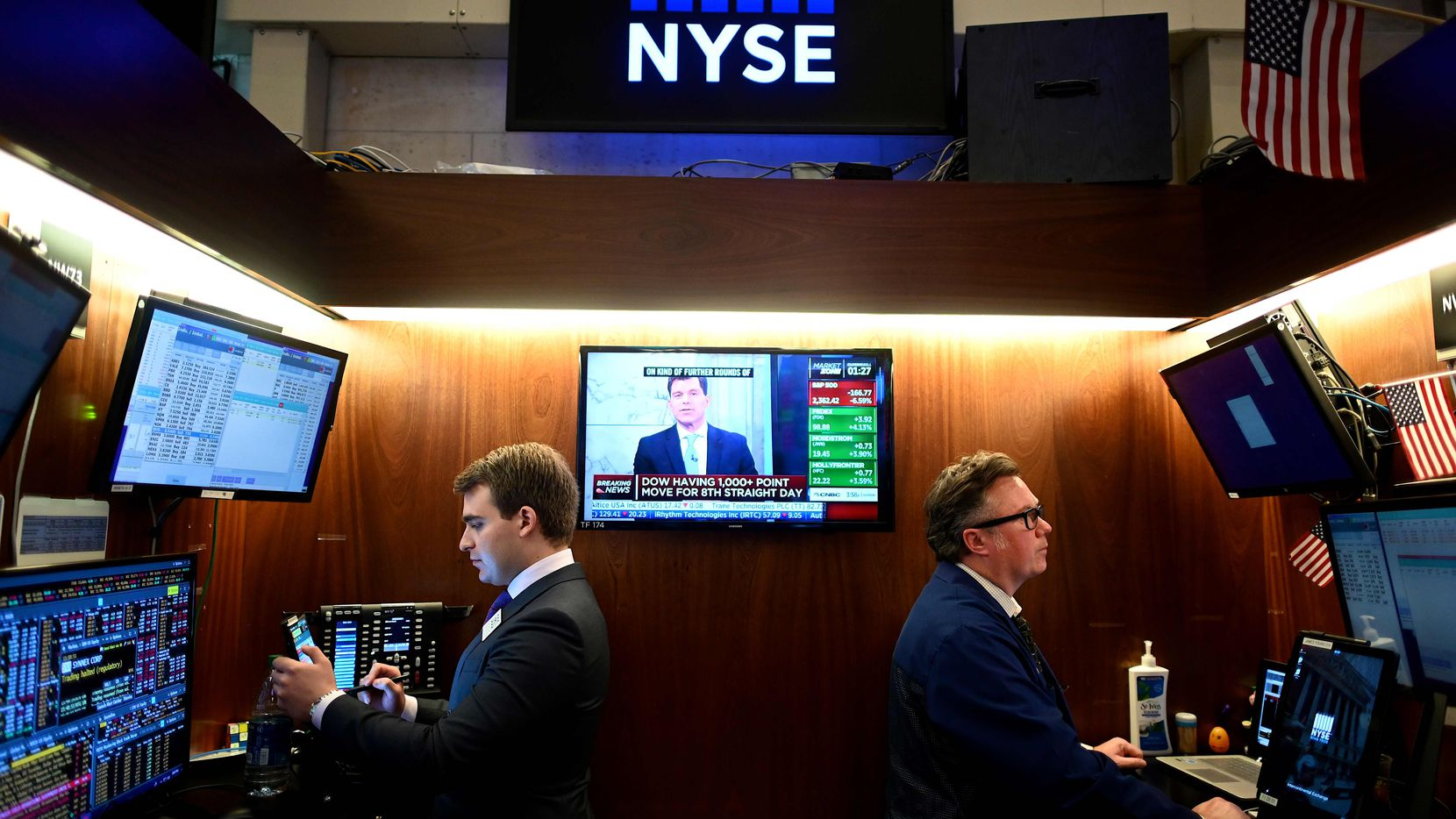 Traders work during the closing bell at the New York Stock Exchange on Wednesday.