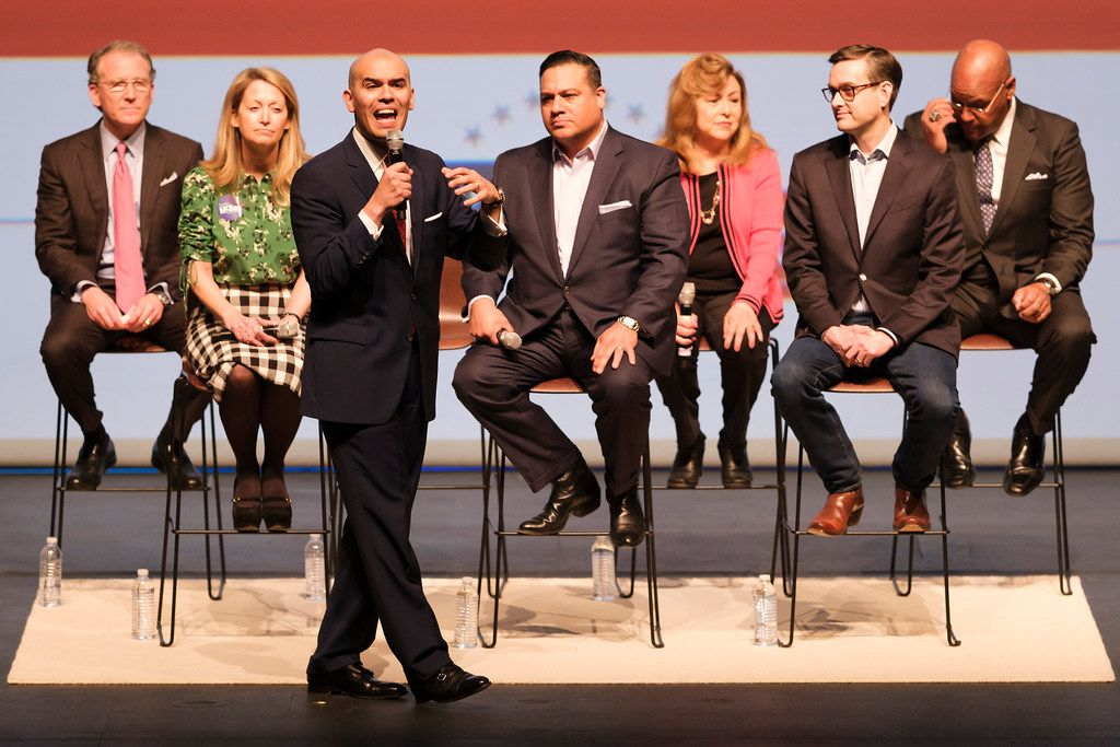 From left, Dallas mayoral candidates Mike Ablon, Lynn McBee, Miguel Solis, Jason Villalba, Regina Montoya, Scott Griggs and Albert Black participate in the Engage Dallas 2019 Mayoral Candidates Forum hosted by the Mayor's Star Council at the Music Hall at Fair Park on Friday, March 8, 2019, in Dallas. (Smiley N. Pool/The Dallas Morning News)