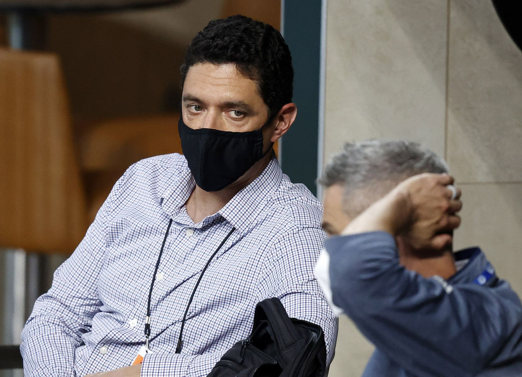 Texas Rangers general manager Jon Daniels (facing) visits with assistant general manager Josh Boyd as they watched an intrasquad game at Summer Camp inside Globe Life Field in Arlington, Texas, Friday, July 10, 2020. (Tom Fox/The Dallas Morning News)