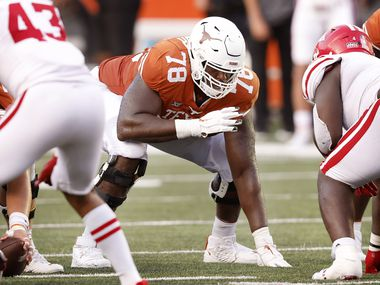 Texas Longhorns offensive lineman Denzel Okafor (78) lines up against the Louisiana-Lafayette Ragin Cajuns at DKR-Texas Memorial Stadium in Austin, Saturday, September 4, 2021. (Tom Fox/The Dallas Morning News)