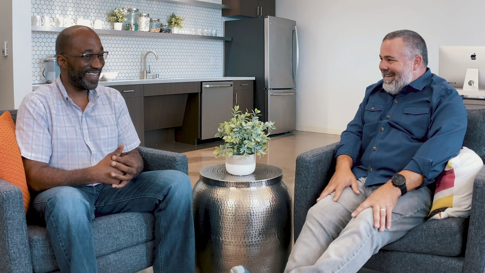 After George Floyd's death and the protests around the country, the president of Gordon Highlander, Greg Gordon (right), posted a Facebook video discussion about Black Lives Matter with a project manager for the company, Brian Thompson.