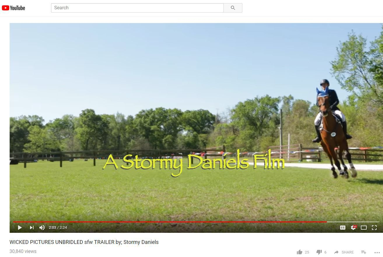 A YouTube screenshot of a trailer for Stormy Daniels' Unbridled porn movie, released last year.