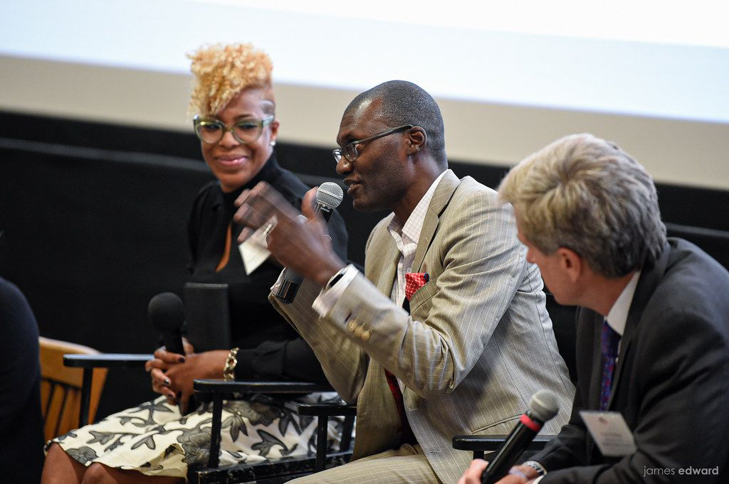 """Panelists (from left) Tobitha Holmes, Drexell Owusu and Rob Walters during a discussion after the  screening at the Angelika Film  Center Dallas of """"No Small Matter."""" (Photo courtesy of James Edward)"""
