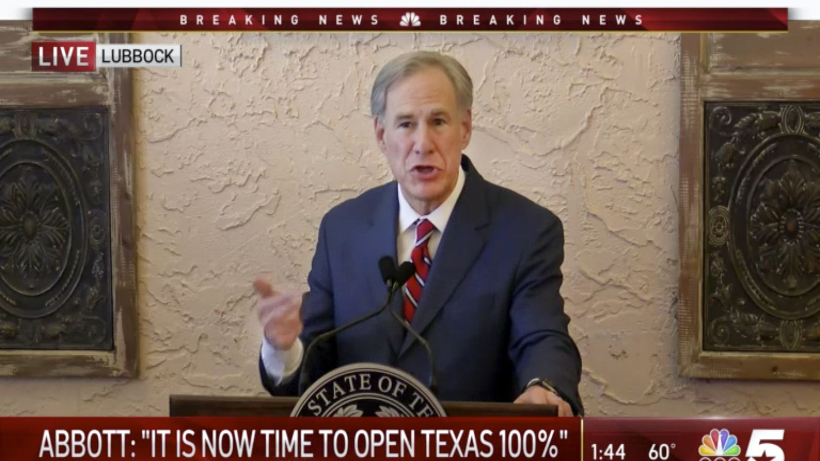 Texas Governor Greg Abbott delivers a speech  at a Lubbock restaurant, Tuesday, March 2, 2021. Coming up on the one-year anniversary of the COVID-19 pandemic, Abbott announced reopening the State of Texas to all businesses. He also wants to end the statewide mask mandate. (video via KXAS Dallas)